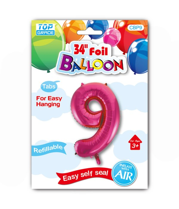 "34"" number balloon H.pink #9"