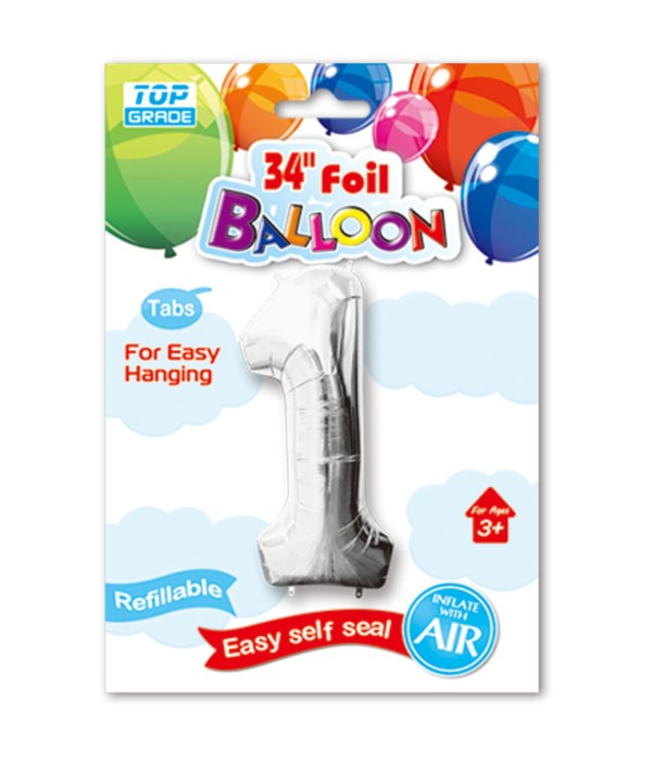 """34"""" number balloon silver #1"""