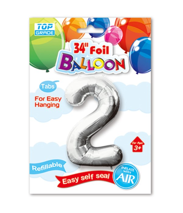 """34"""" number balloon silver #2"""