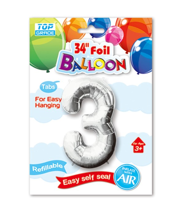 """34"""" number balloon silver #3"""