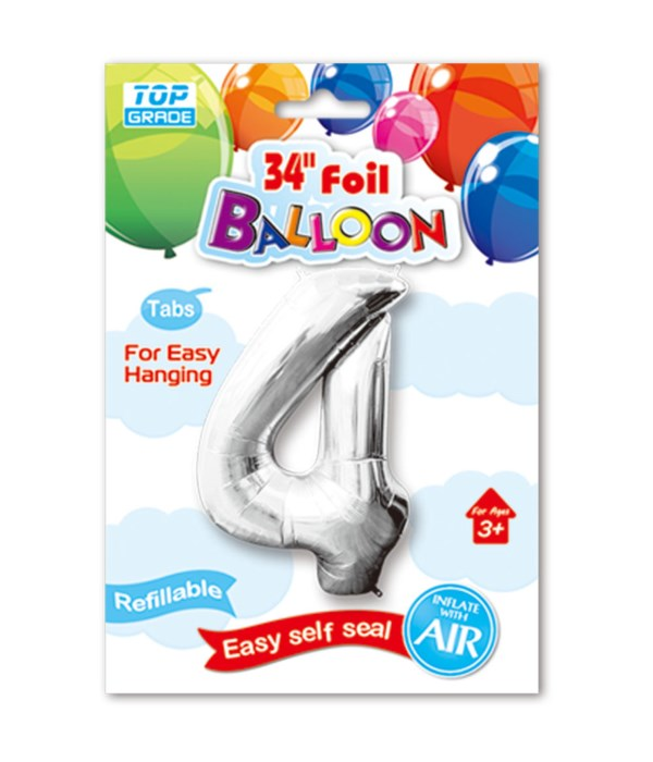 """34"""" number balloon silver #4"""