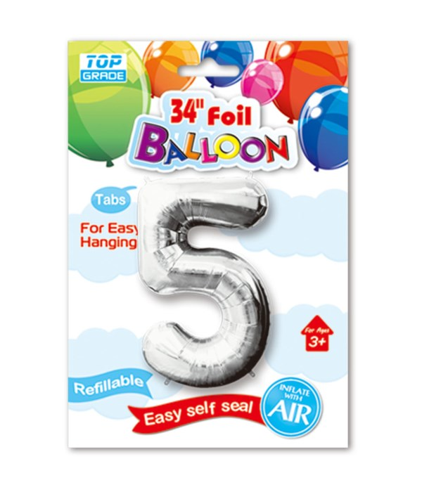 """34"""" number balloon silver #5"""