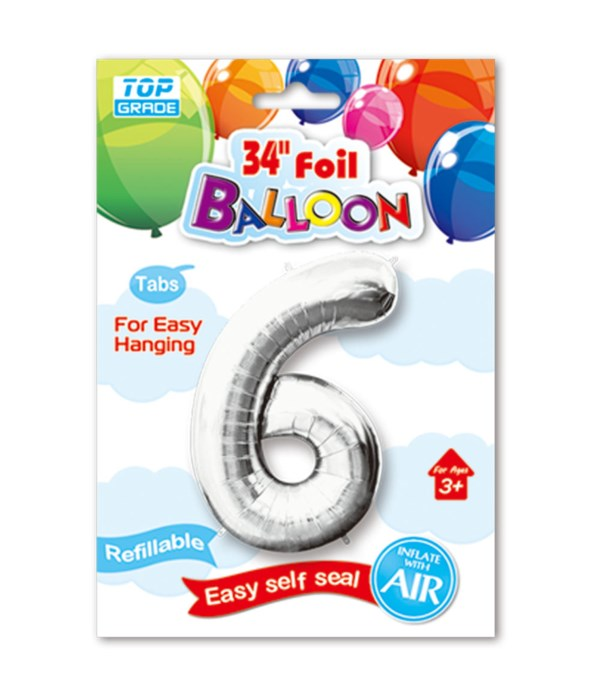 """34"""" number balloon silver #6"""