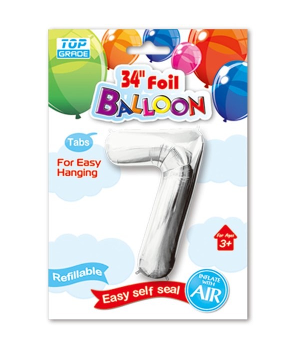 """34"""" number balloon silver #7"""