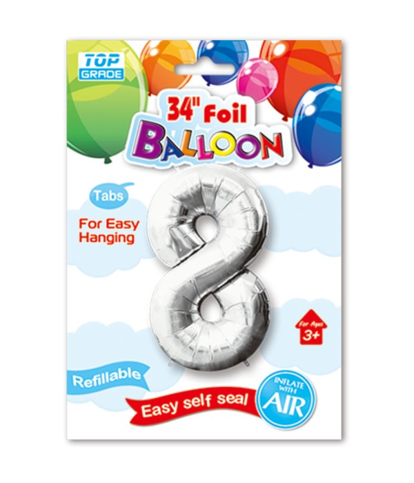 """34"""" number balloon silver #8"""