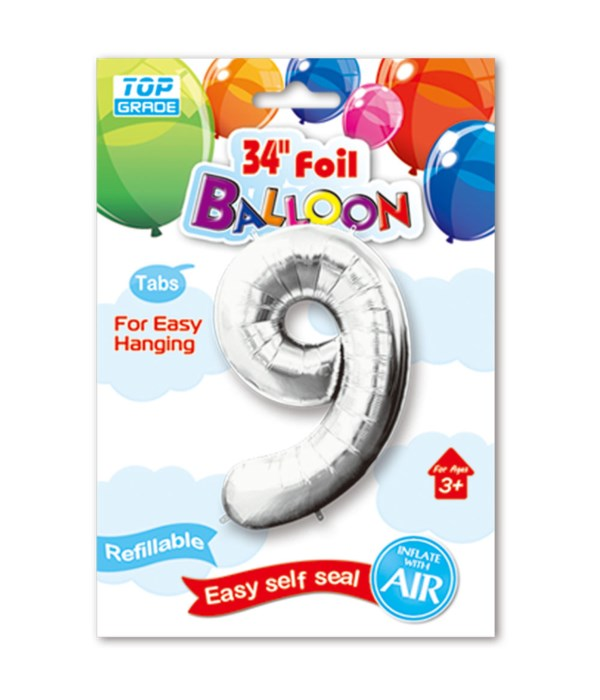 """34"""" number balloon silver #9"""