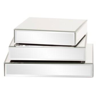 Square Mirrored Display Platforms - set of 3