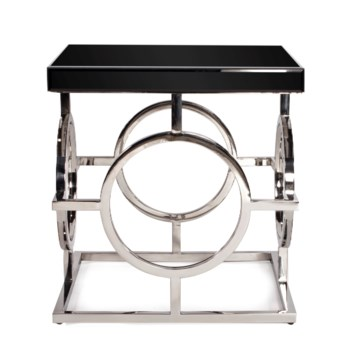 Stainless Steel Side Table With Black Top
