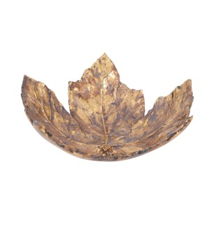 Antique Gold Maple Leaf Tray, Large