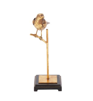 Antique Gold Finch on Perch, Tall