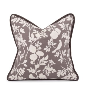 "20"" x 20"" Pillow Sparrow Charcoal - Down Insert"
