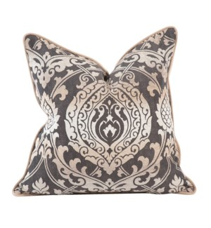 "20"" x 20"" Pillow Damask Pewter - Down Insert"