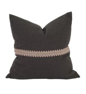 "20"" x 20"" Pillow Seascape Charcoal w/ Deco Trim - Down Insert"