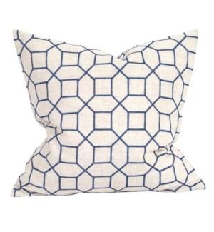 "20"" x 20"" Pillow Trellis Indigo - Down Insert"