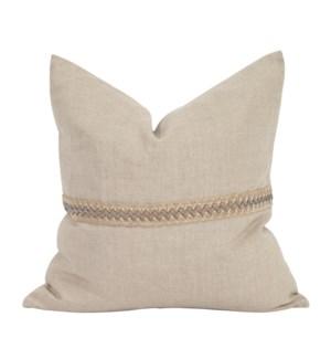 "20"" x 20"" Pillow Prairie Linen with Deco Trim - Down Insert"