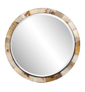 Godfrey Round White Tiled Horn Mirror