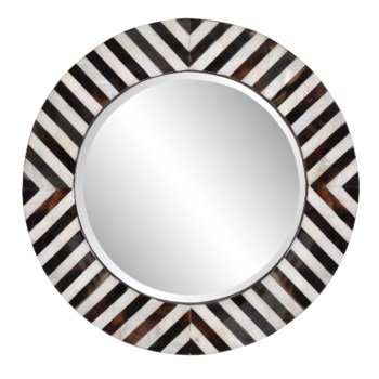 Julianna Round Horn and Shell Tiled Mirror