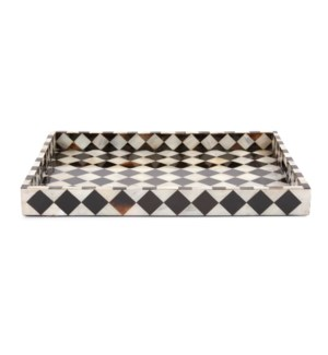 Julianna Rectangular Horn and Shell Tiled Tray
