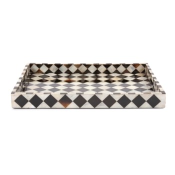 Julianna Rectangular Horn and Shell Tiled Tray