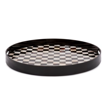 Julianna Round Horn and Shell Tiled Tray