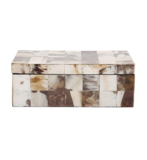 Godfrey Rectangular White Horn Tiled Box
