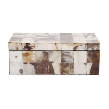 Godfrey Rectangular White Horn Tiled Box