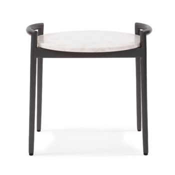 Round Side Table with White Marble Top