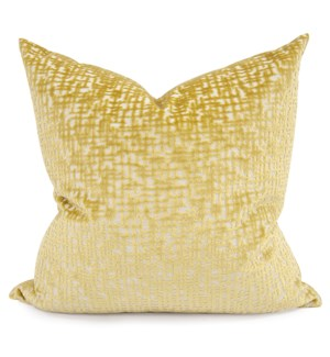 "24"" x 24"" Pillow Crevasse Citron - Down Fill"
