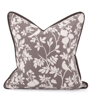 "24"" x 24"" Pillow Sparrow Charcoal - Down Insert"