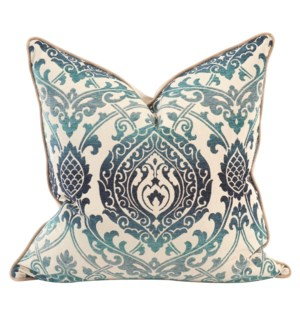 "24"" x 24"" Pillow Damask Indigo - Down Insert"