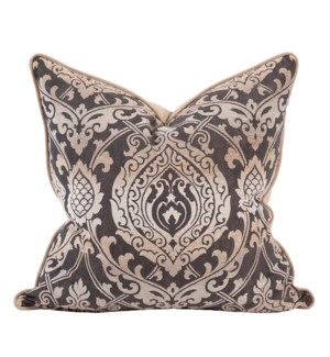 "24"" x 24"" Pillow Damask Pewter - Down Insert"