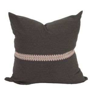 "24"" x 24"" Pillow Seascape Charcoal with Deco Trim - Down Insert"