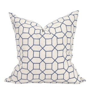 "24"" x 24"" Pillow Trellis Indigo - Down Insert"
