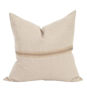 "24"" x 24"" Pillow Prairie Linen with Deco Trim - Down Insert"