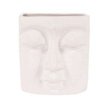 Abstract Buddha Face in Eggshell White Ceramic Wall Vase