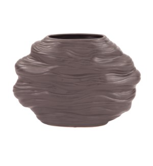 Graphite Organic Abstract Vase, Wide