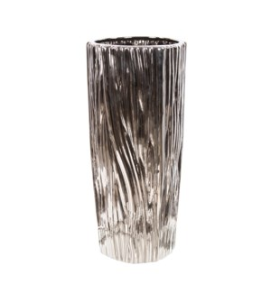 Metallic Silver Ribbed Ceramic Vase