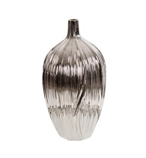 Metallic Silver Ribbed Ceramic Bottle Vase
