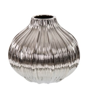 Metallic Silver Ribbed Ceramic Globe Vase