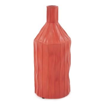 Coral Red Ribbed Ceramic Bottle