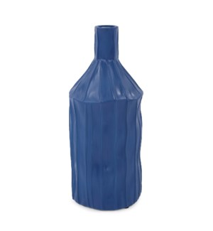 Royal Blue Ribbed Ceramic Bottle