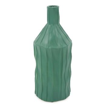 Emerald Green Ribbed Ceramic Bottle