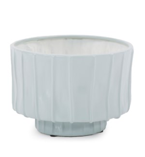 Robin's Egg Blue Ribbed Ceramic Bowl