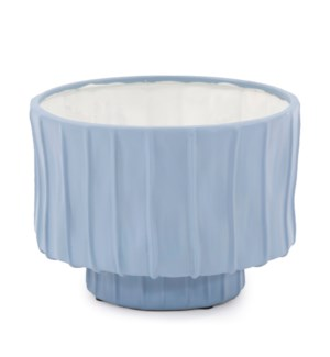 French Blue Ribbed Ceramic Bowl