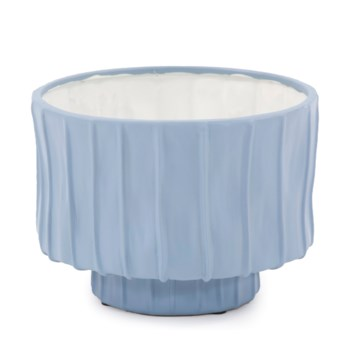 French Blue Ribbed Ceramic Bowl