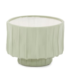 Sage Green Ribbed Ceramic Bowl