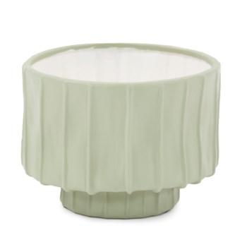 Sage Green Ribbed Ceramic Bowl