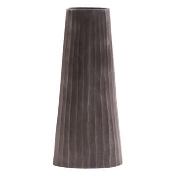 Graphite Chiseled Metal Vase