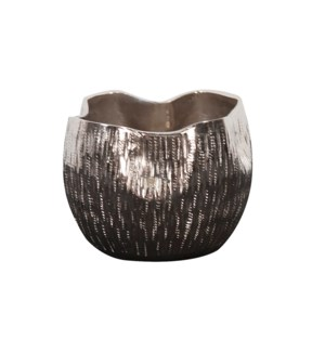 Textured Bright Silver Aluminum Pinch pot Votive Holder, Small