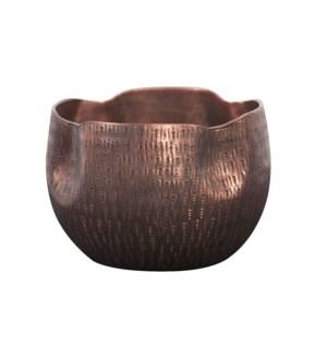 Textured Deep Copper Aluminum Pinch pot Votive Holder, Medium
